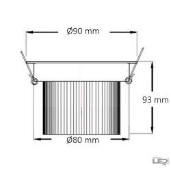 Foco led empotrable COB 10W Circular Blanco con Chip CREE-COB