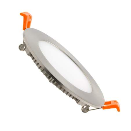 Downlight led plano 12W redondo plata