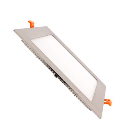 Downlight led plano 12W cuadrado plata