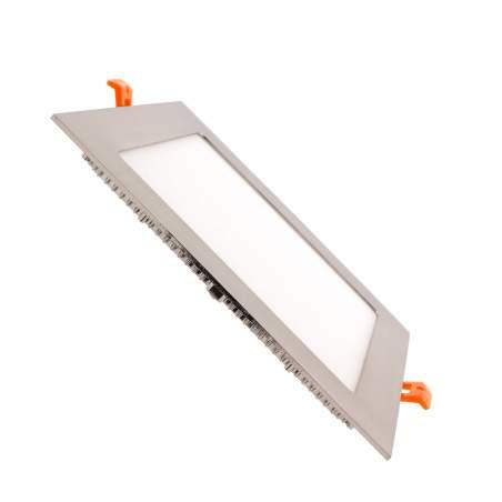 Downlight led plano 12W cuadrado plata