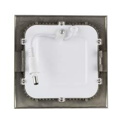Downlight led plano 6W cuadrado plata