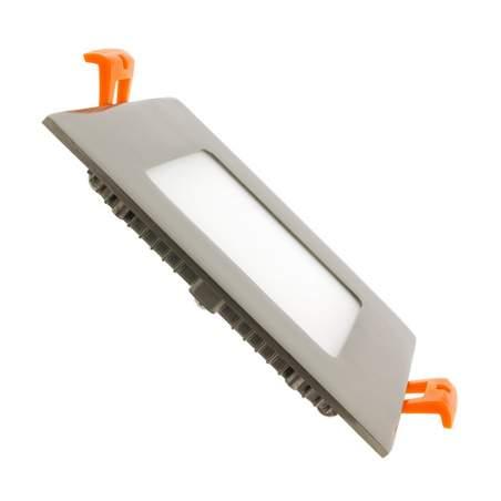 Downlight led plano 6W cuadrado plata