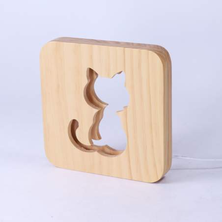 Lampara mesa CAT madera natural