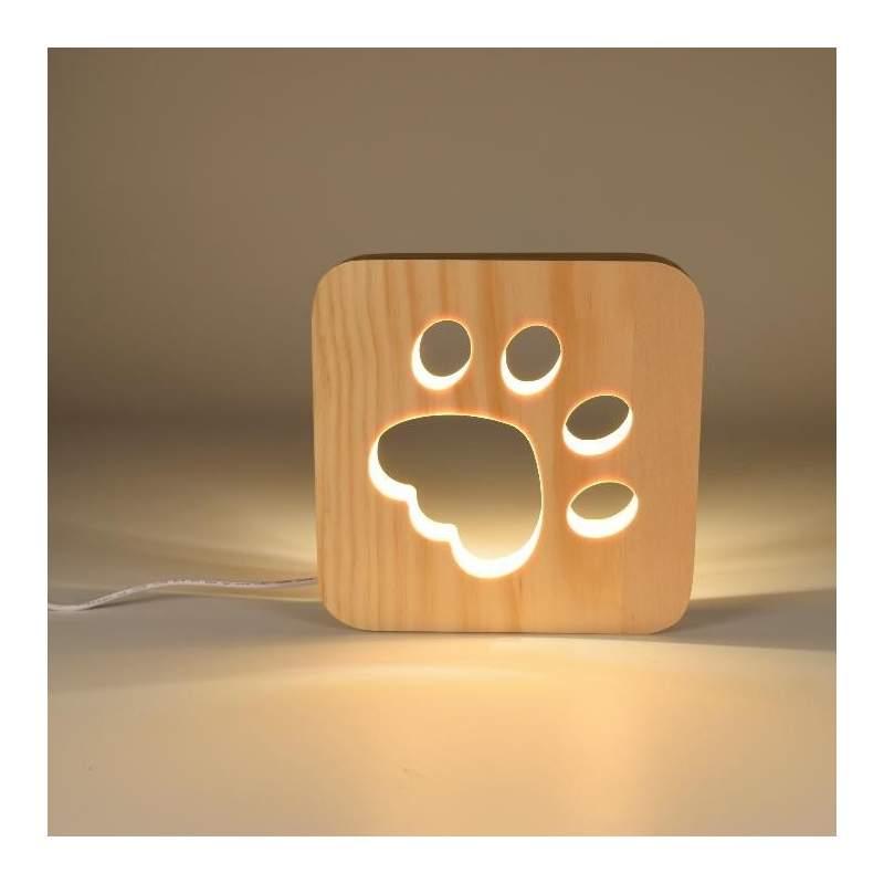 Lampara de mesa DOG madera natural