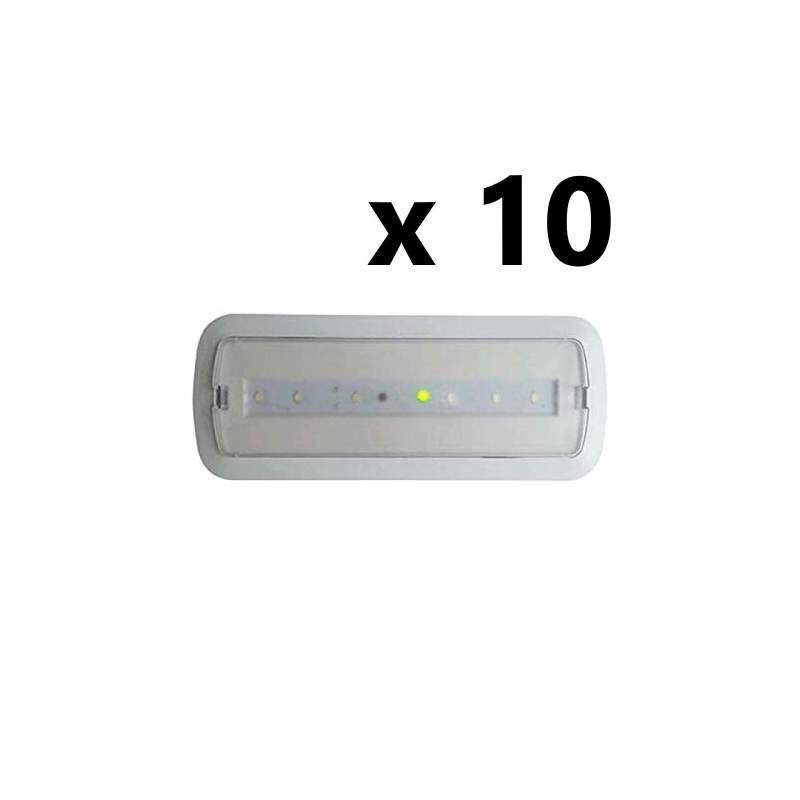 Pack 10 unid Luz de Emergencia Led 3W permanente/no permanente con AUTOTEST