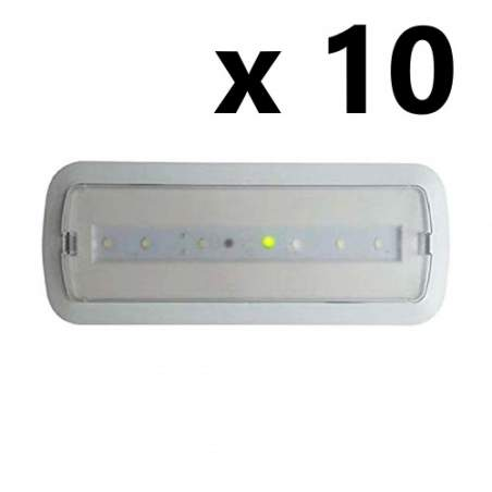 Pack 10 unid Luz de Emergencia Led 3W permanente/no permanente con AUTOTEST