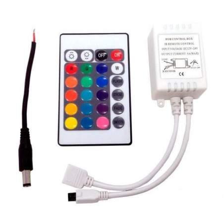 Controlador LED RGB Control Remoto IR 24 botones Tira LED 12/24V