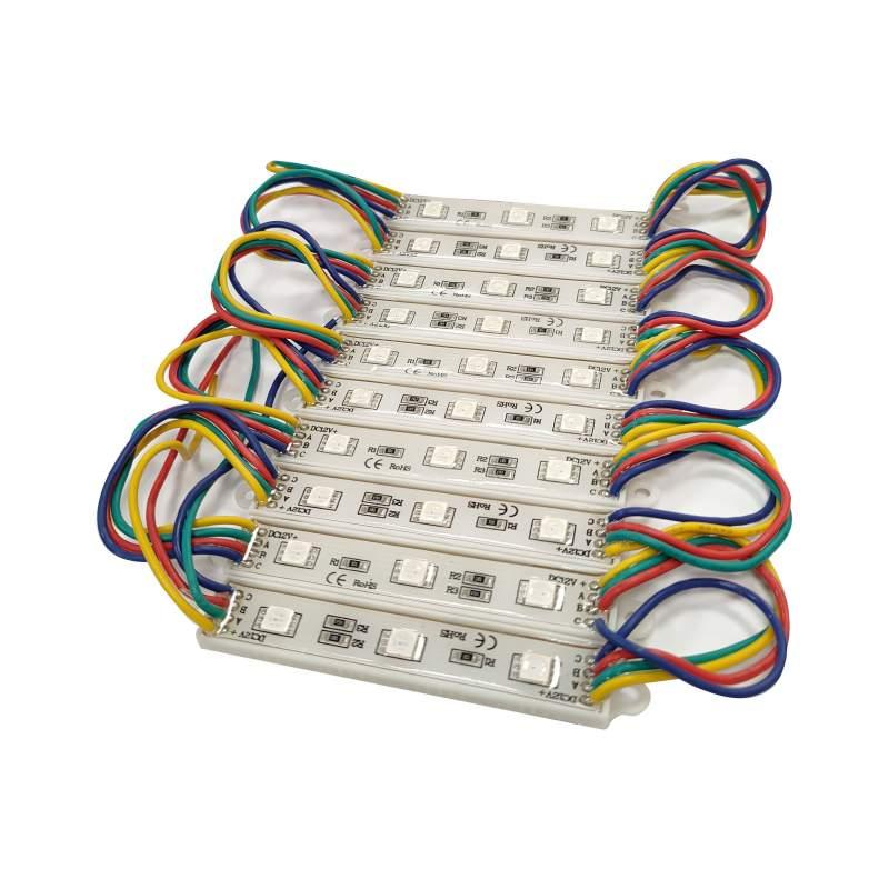Cadena de 10 módulos 3 leds IP65 SMD 2835 RGB