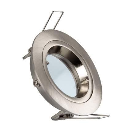 Aro empotrable redondo basculante plata para GU10/MR16